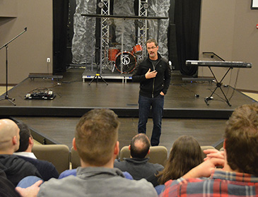 Eddie Lowen talks to his staff at West Side Christian Church, Springfield, Illinois.