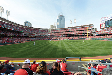 The Reds take the field at Great American Ballpark in Cincinnati, Ohio. ©The Cincinnati Reds