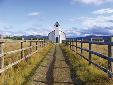 Small wooden rural church