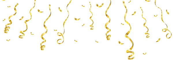 Celebration background template with confetti and golden ribbons. Vector illustration