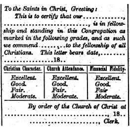Church Letters of the 1800s