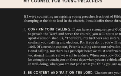 My Counsel for Young Preachers